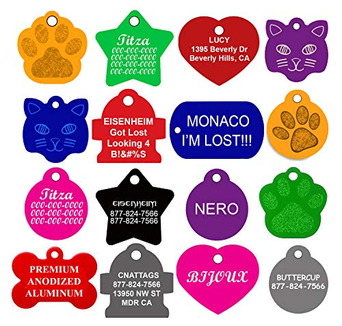 CNATTAGS Dog ID Tags Personalized   Many Shapes to Choose from  8 Colors