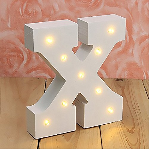Taixinpower Light Up Wooden Alphabet Letter A to Z Carnival Decorative DIY LED Letter Lights Sign Party Wedding Holiday Marquee Decor Battery Operated (X)