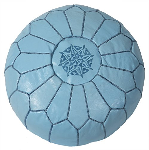Casablanca Market Moroccan Embroidered Cotton Stuffed Leather Pouf/Ottoman, Baby Blue