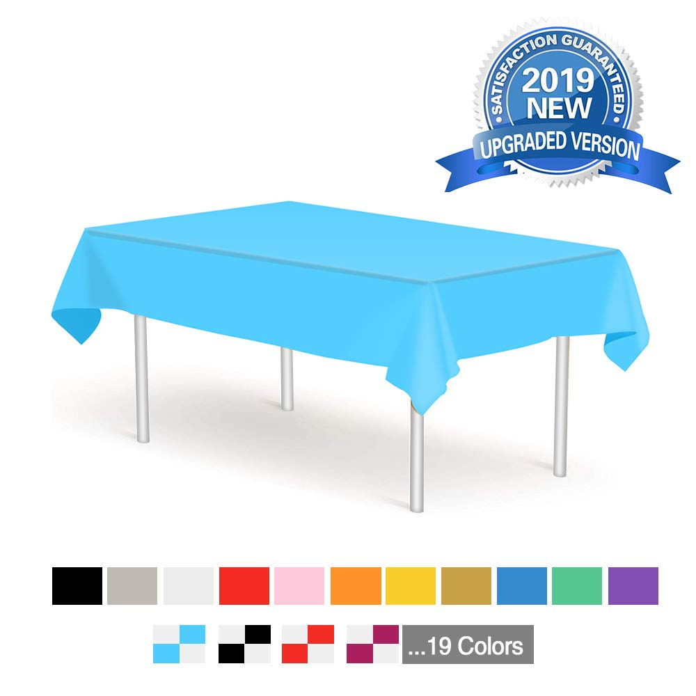 Blue Disposable Tablecloths 6 Pack Plastic Rectangle Table Cloths 54'' x 108'' Table Covers for Birthdays Parties Picnic Weddings Christmas Indoor or Outdoor Use