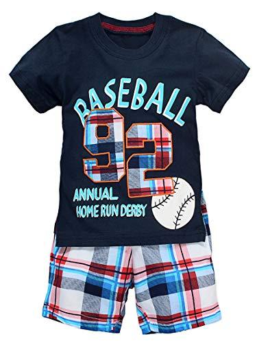 Kids Baseball Clothes - Baseball Little Boys Cotton Short Sleeve Set 2Pcs (Navy,6-7 Years)