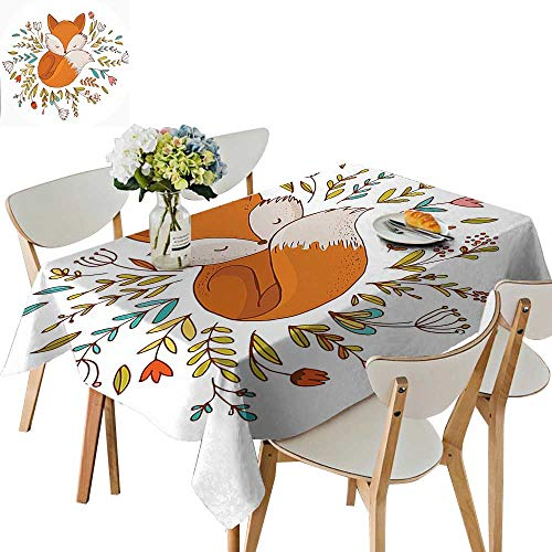 UHOO2018 Polyester Fabric Tablecloth Square/Rectangle Baby Fox Sleeping in a Floral Made Bed Circle Art Print Dark Orange Summer & Outdoor Picnics,23 x 23inch