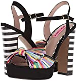 Betsey Johnson Women's Mandy Heeled Sandal, Black Multi, 8.5 M US