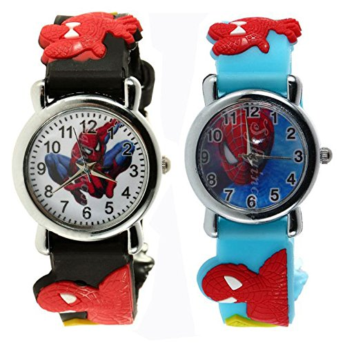 RioRand® Spider Man Marvel Cartoon Child Boys Kids Analog Quartz Wrist Watch Rubber(blue)