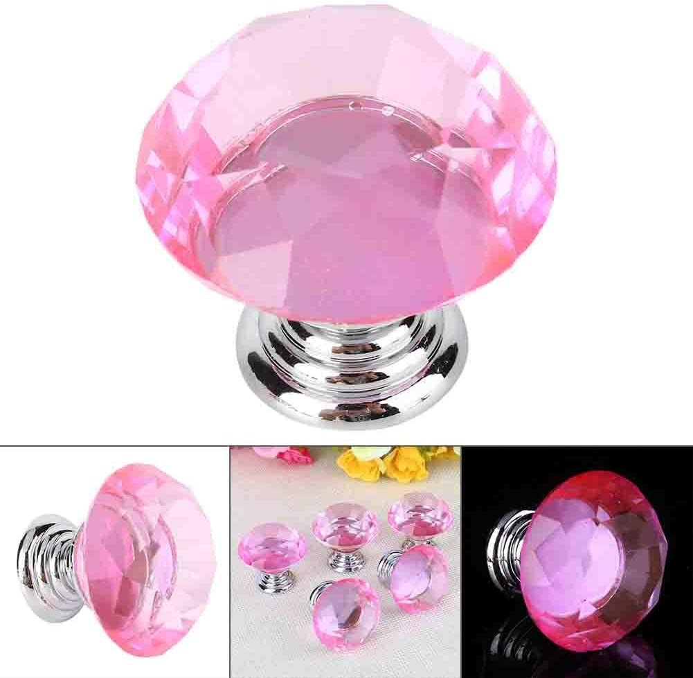 40mm Diamond Crystal Glass Cupboard Cabinet Dresser Drawer Door Pull Knob, 10 Pieces, Pink