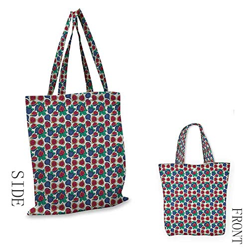 Fig,canvas shopping bags with handles,Hand Drawn Style Pattern of Ripe and Juicy Fig Fruit Cut in Half with Green Leaves,shopping bags reusable foldable,W14