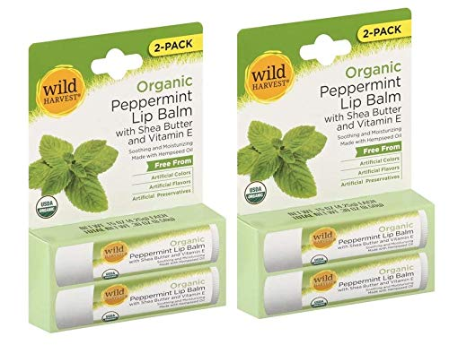 (Organic Peppermint Lip Balm with Shea Butter and Vitamin E - 4 Pack)