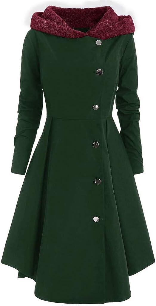 WUAI-Women Trench Coat Casual Button Closure Asymmetrical Hem Hooded Cloak Wool Coat