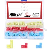Hilitchi 60pcs 22-18 18-14 12-10 Gauge Nylon Flag Spade Female Insulated Quick Disconnects Electrical Crimp Terminals Connector Assortment Set