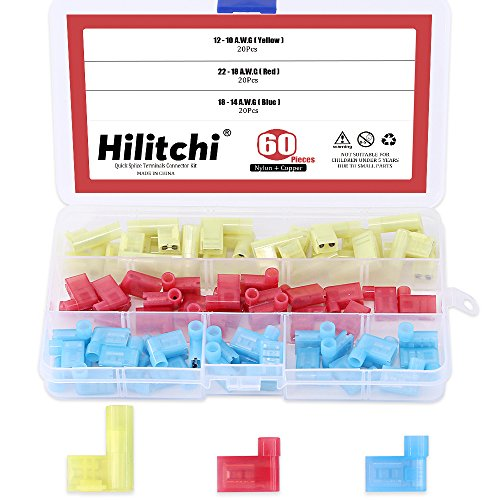 (Hilitchi 60pcs 22-18 18-14 12-10 Gauge Nylon Flag Spade Female Insulated Quick Disconnects Electrical Crimp Terminals Connector Assortment Set)