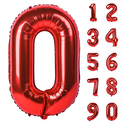 40 inch Large Numbers 0-9 Birthday Party Decorations Helium Foil Mylar Big Number Balloon Red 0