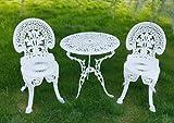 Vanteriam Weather-resistant Outdoor Patio Furniture 3PC Cast Aluminum Bistro set, Ivory White