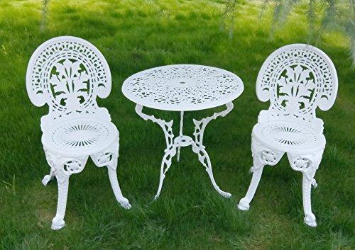 Vanteriam Weather Resistant Outdoor Patio Furniture 3PC Cast Aluminum  Bistro Set, Ivory White By