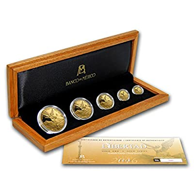 MX 2016 Mexico 5-Coin Gold Libertad Proof Set (1.9 oz, Wood Box) Brilliant Uncirculated