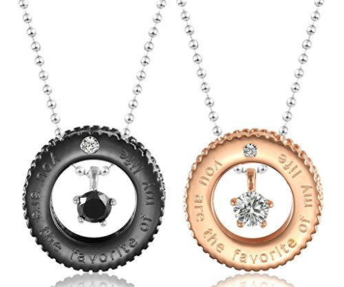 Daesar His & Hers Necklace Set Couples Pendant Necklace Stainless Steel Wheel Gear Rings Matching Set