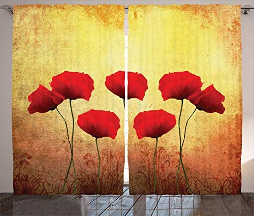 Ambesonne Poppy Curtain
