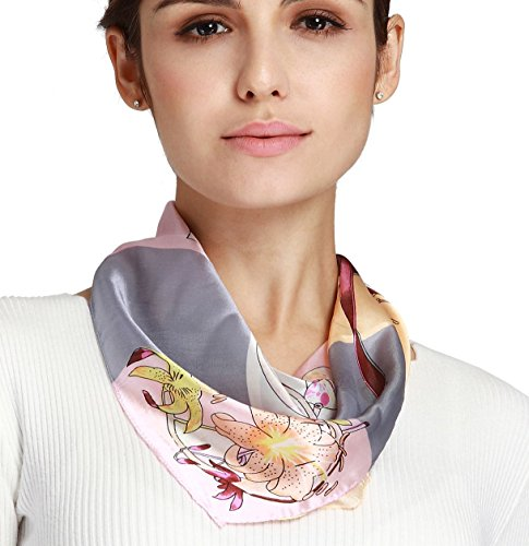 Butterfly Rose Women's Girl's 100% Mulberry Silk Square Scarf 20