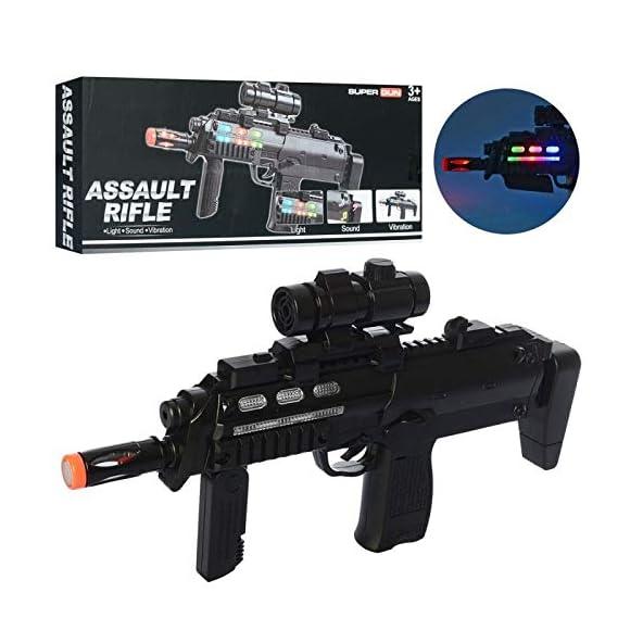 HALO NATION Army Style Combat Machine Gun Assault Rifle Gun with Vibration Light and Sound – M-4 PUBG Musical Toy Gun for Kids Boys