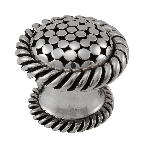 Italian Decorative Hardware Contemporary Knob - Vicenza Designs K1040 Tiziano Lines Knob, Large, Antique Silver