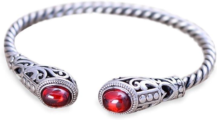 bracelet argent et grenat