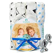 Muslin Swaddle Blankets for Baby - 7 Pcs Set - 4 Swaddles, 2 Clips, Baby Gift Box - 100% Organic Cotton - Unisex Pack For Boys and Girls - Newborn, Infant and Toddler - 47x47 Large Wrap Swaddles