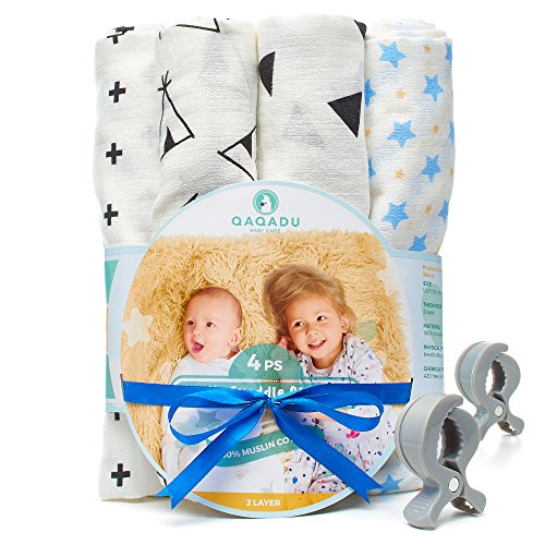 Muslin Swaddle Blankets for Baby - 7 Pcs Set - 4 Swaddles, 2 Clips, Baby Gift Box - 100% Organic Cotton - Unisex Pack For Boys and Girls - Newborn, Infant and Toddler - 47x47 Large Wrap Swaddles - Air Carter Cap