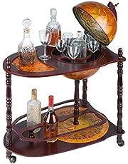 Design Toscano Sixteenth-Century Italian Replica Globe Bar Cart Cabinet on Wheels, 96.5 cm, MDF Wood, Sepia Finish