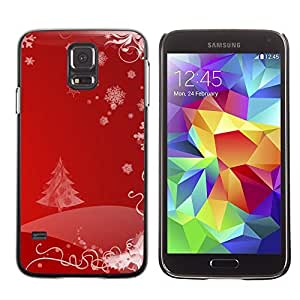 YOYO Slim PC / Aluminium Case Cover Armor Shell Portection //Christmas Holiday Red Tree Pattern 1110 //Samsung Galaxy S5