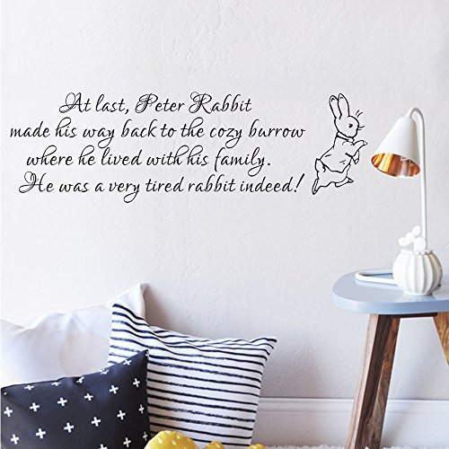 Wall Decal Decor Peter Rabbit Wall Decal - Baby Nursery Wall Quote Decal Baby Room Kids Bedroom Decal(Black, 11