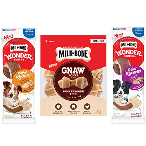 Milk-Bone Wonder Bones Paw Rockers with Real Chicken (6.2 oz.) and Real Beef (6.2 oz), Long Lasting Dog Treats, Small-Medium GnawBones Knotted Bones, Rawhide-Free, Chicken, Small-Medium