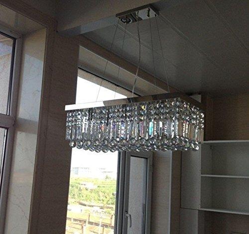 siljoy rectangular crystal chandelier lighting dining room pendant lighting l47 x w10 x h10. Black Bedroom Furniture Sets. Home Design Ideas