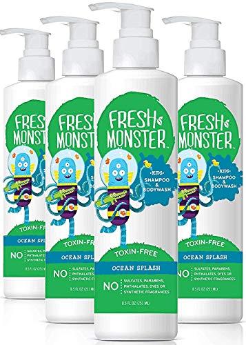 Fresh Shower Gel - Fresh Monster Kids Shampoo and Body Wash, 8.5 Ounce, 2 Count (Ocean Splash, 4 Count)