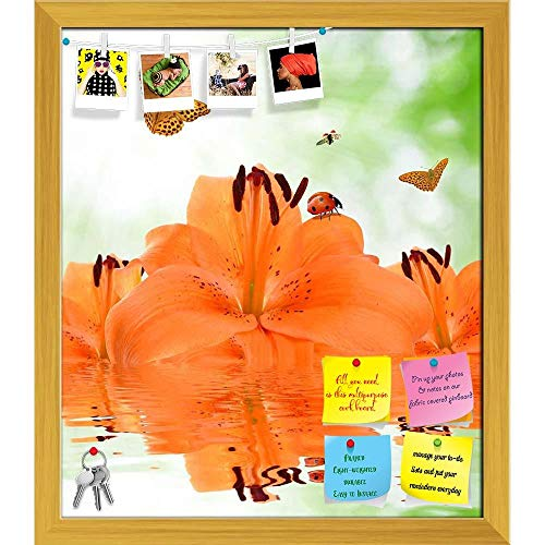 Artzfolio Orange Lily with Butterflies & Ladybugs Printed Bulletin Board Notice Pin Board | Golden Frame 16 X 18.4Inch