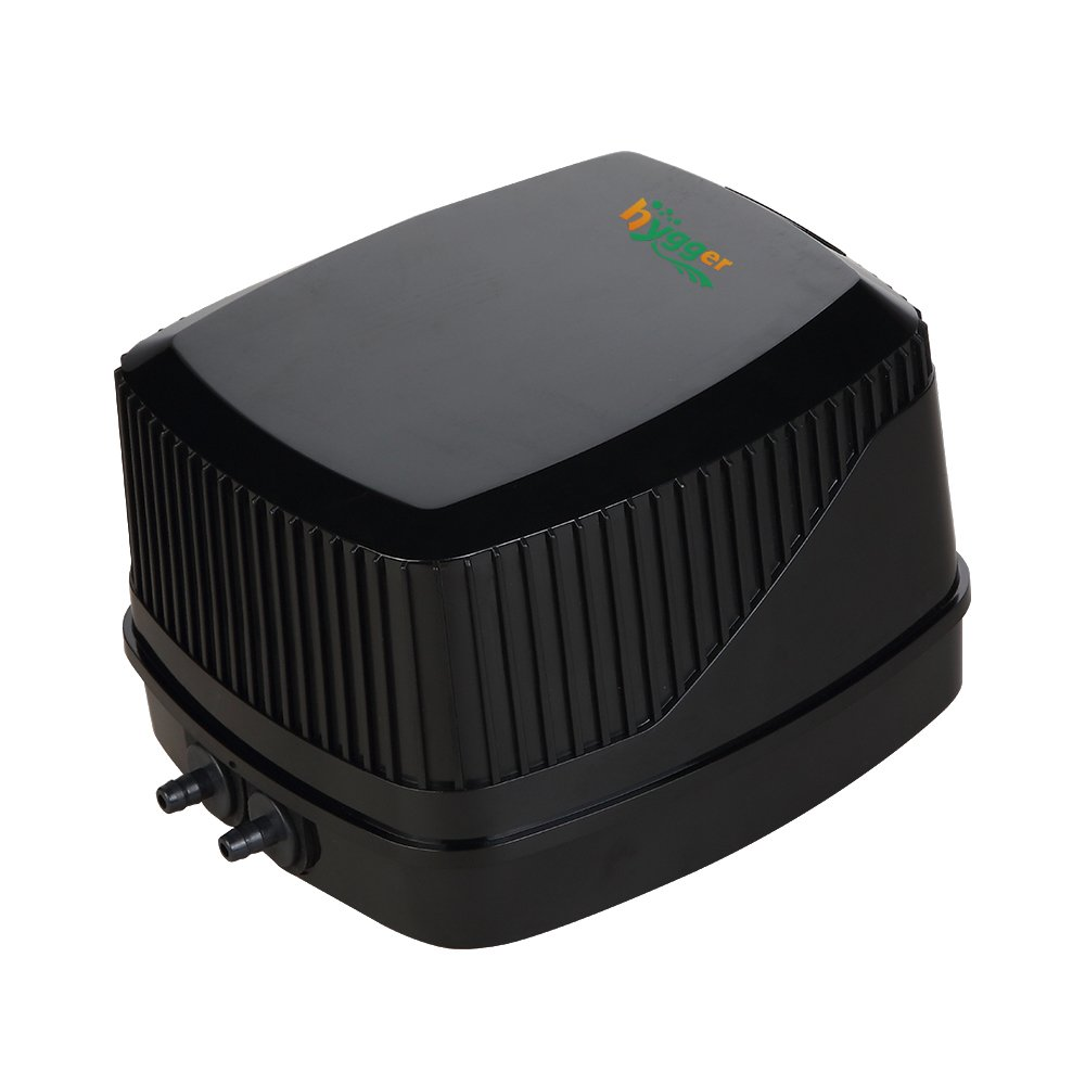 hygger Quiet High Output 10W Aquarium Air Pump, Premium Oxygen Pump Air Aerator Pump for Fish Tank 30-600 Gallon, 2 Air Outlets (4mm), 250GPH, 100-120V, 0.03MPa (Black)