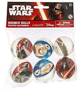 Amscan 6 CountStar Wars Episode Vll Bounce Ball Favors, Multicolor