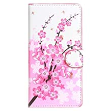 Acer Z320 Z330 Case, Candy House Acer Liquid Z320 Z330 PU Leather Case Horizontal Wallet Case Magnetic Closure Flip Cover [Flower Series Pattern] Pink Peach Blossom