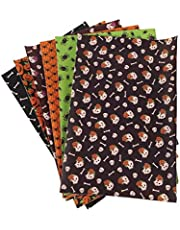 MILISTEN 6 pcs Halloween Fabric Bundle Squares Patchwork Craft Trick or Treat for DIY Halloween Wreath Doll Dress Coaster Sewing Quilting Scrapbooking