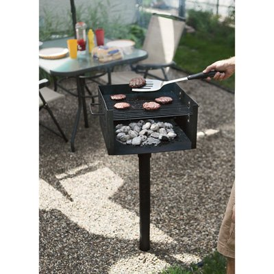 Charcoal Patio Post Mount Barbecue - Park-Style Grill, Commercial-Grade, 256 sq. in.