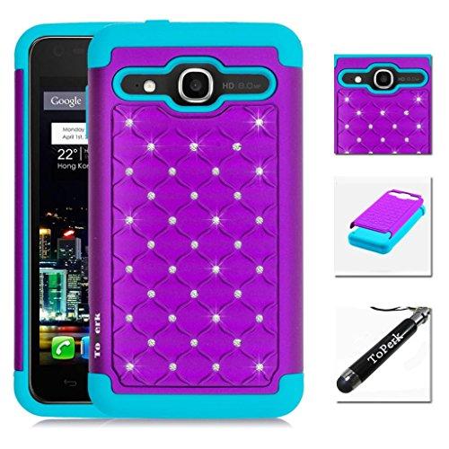 [ Alcatel OneTouch Sonic LTE / A851L ] ToPerk (TM) Luxury Spot Diamond Dual Layer Armor Case + Free Screen Protector & Stylus Pen As Bundle Sale - Purple