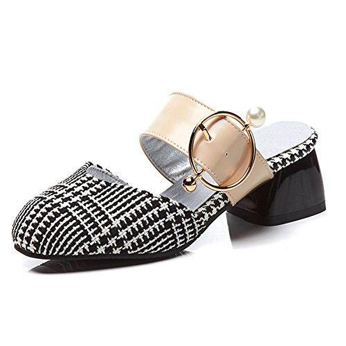 Zapatillas Baotou De Cabeza Tamaño Sandalias De Las Mujeres Cuadrada Mujeres Gran Mujeres Verano De Las Sandalias lattice De Zapatos Sandalias Mujer De Moda Zapatos wBBdSqT