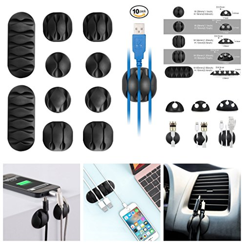 (Cable Clips Cord Holder Cable Organizer Cord Keepers 10 Pack Computer Desk DIY Kit Self Adhesive Phone Charger, USB, Wire Hooks Accessories Management System for Car, Home, Office, Cubicle, Gift-Idea)