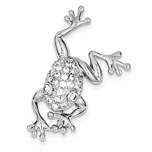 Diamond Frog Pin (925 Sterling Silver Cubic Zirconia Frog Pin)