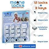CHILD SAFETY CABINET LOCKS - 2018 Edition - By Magna Locks - Home Baby-proof Kit ⎯ Hidden Protection Design - Quick & Easy Installation With Template - (12 Lock + 3 Key Set)