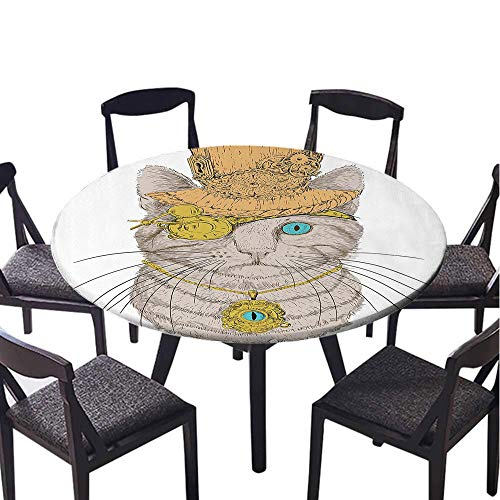 SATVSHOP Home Luxury Round tablecloth-35 Round-for Buffet Table Cover, Festive Dinner,Cat Lover Cute Punk Pirate Cat with Eye Collar Gothic Medieval Kitty Vintage Dign Orange Brown.(Elastic - Gingham Kitty Collar