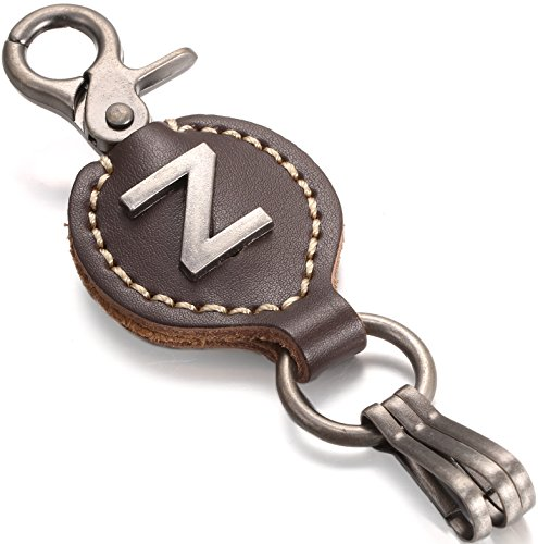 Brown Leather Alphabet Keychain, Single Letter with Easy Clasp Key - by Marino Ave - Z - onesize (Keychain Ffx)