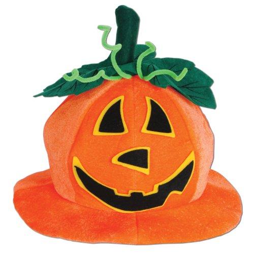 Beistle 00714 Plush Jack-O-Lantern Hat - Halloween Hats