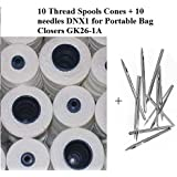 10(ten) Thread Spools Cones + 10 needles DNX1 for Portable Bag Closers GK26