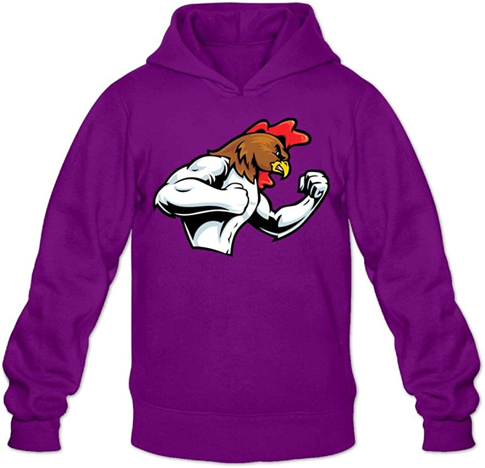 Jusxout Male Hoodie Sweatshirt Funny Pullover Hooded Muscle White Chicken Rooster
