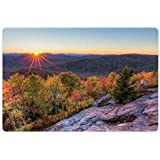 Lunarable Adirondack Pet Mat for Food and Water, Colorful Autumn Sunset Over Seneca Mountain Hill Covered with Thick Green Forest, Rectangle Non-Slip Rubber Mat for Dogs and Cats, Multicolor