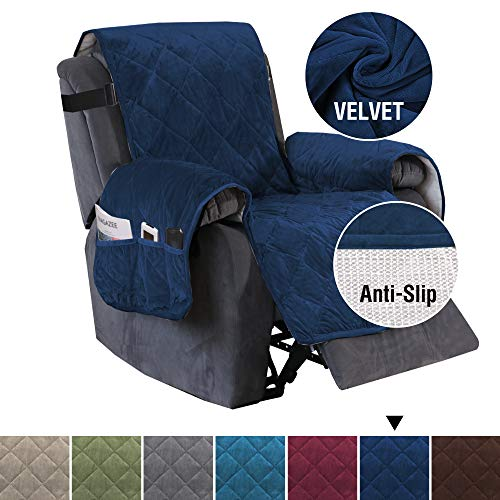 "H.VERSAILTEX Recliner Sofa Slipcover Slip Resistant Quilted Velvet Plush Recliner Cover Furniture Protector Seat Width Up to 28"" Couch Shield 2"" Elastic Straps Recliner Slipcover Navy"
